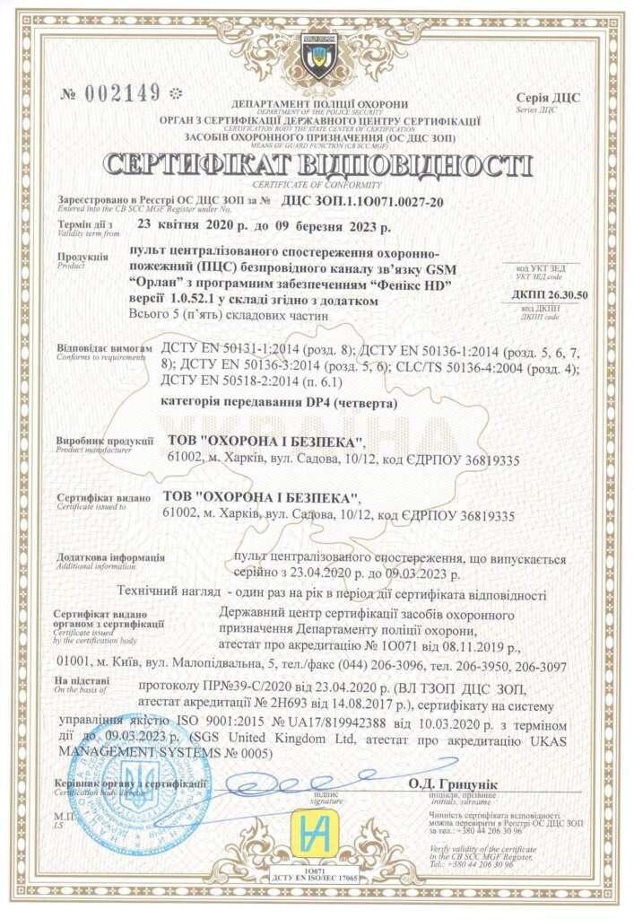 сертифікат відповідності для пульту